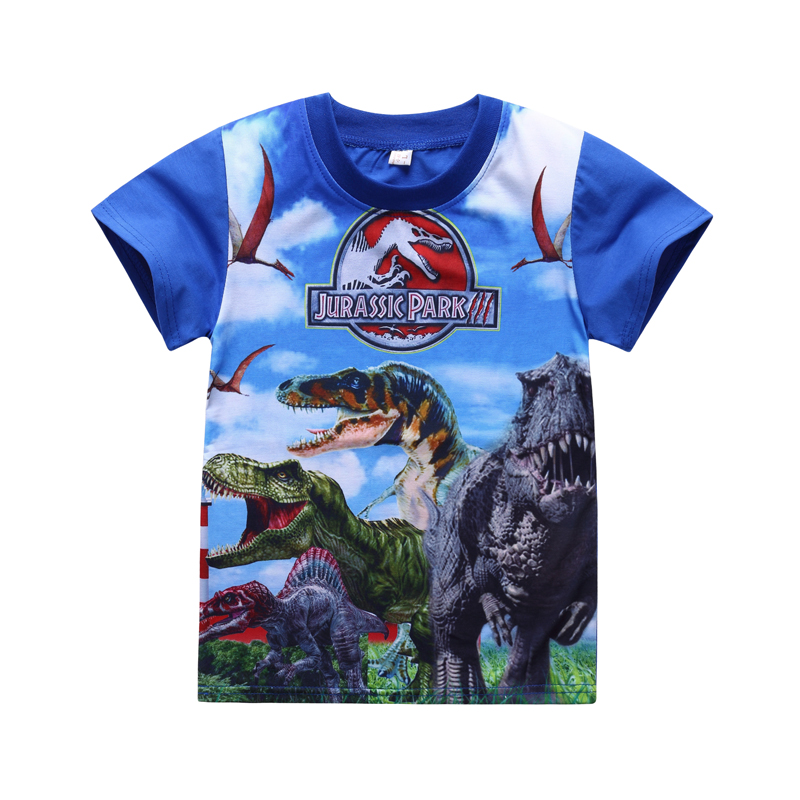 2017 New 5-10Y summer children's tee dinosaurstyle boys t-shirts classic Jurassic World&park shorts for child boys kids pineapple print tee with rolled hem shorts