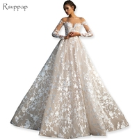 Gorgeous Sheer Ball Gown Wedding Dresses 2016 Puffy Lace Beaded Applique White Long Sleeve Arab Wedding