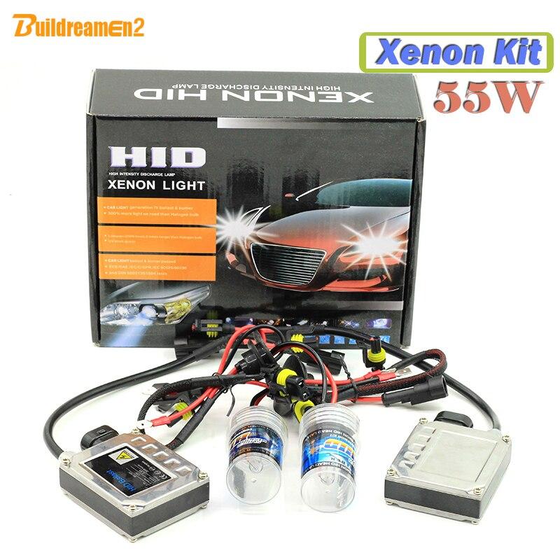 Buildreamen2 55W H1 H3 H7 H8 H9 H11 880 881 9005 HB3 9006 HB4 Xenon Ballast Bulb HID KIT 6000K Car Headlight Fog DRL Light