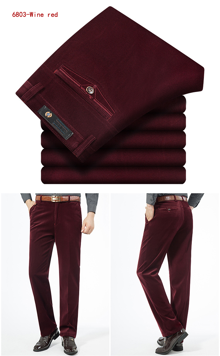 HTB1ND B5OYBuNjSsD4q6zSkFXag Autumn Spring corduroy trousers men's leisure pants high waist straight middle-aged wash and wear business casual corduroy pants