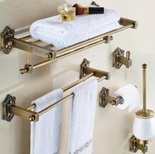 Exceptional Antique Bronze Brass Carved Bathroom Accessories Set Solid Brass Bath  Hardware Sets Towel Rack,Paper