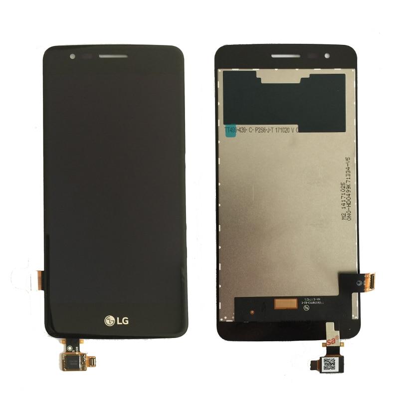 Original lcd para lg k8 2017x240 display lcd de toque digitador da tela com moldura assembléia completa preto branco frete grátis