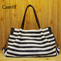 Caerlif  tide fashion leisure bag bag lady's handbag black and white stripe bag leather cowhide head layer single shoulder bags