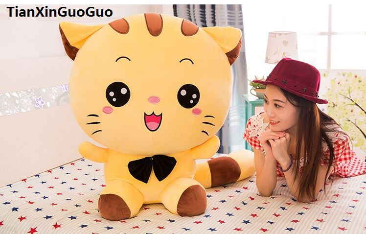 stuffed fillings toy large 60cm cartoon yellow cat plush toy font b cute b font kitty