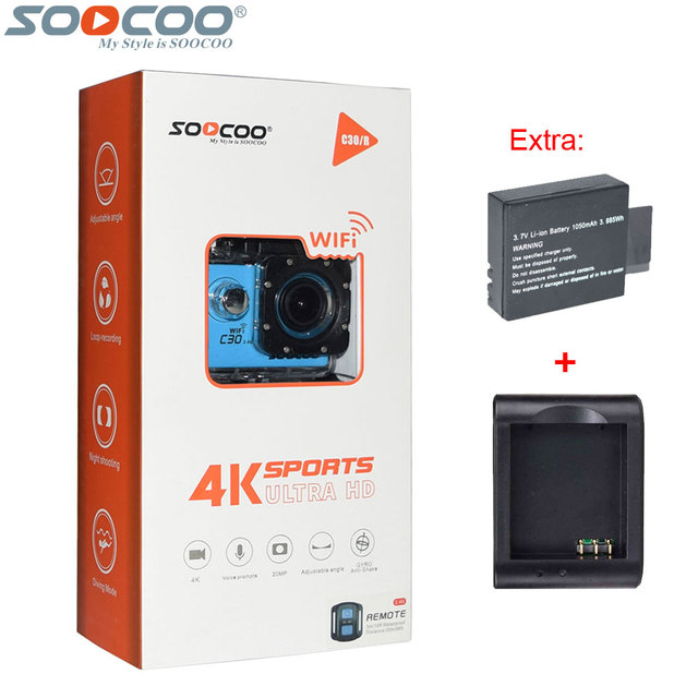 Original soocoo c30r 2.4g controle remoto 4 k 24fps 2 k 30fps wifi action camera gyro 30 m à prova d' água esporte mini dv + bateria extra