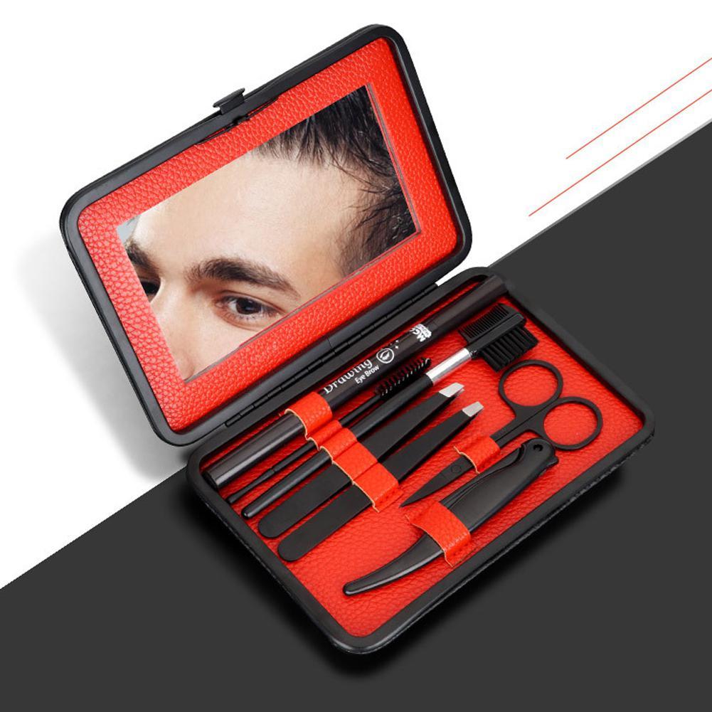 BellyLady 7 Pcs/set Men Eyebrow Set Clip Tool Eyebrow Comb Pencil Set Finishing Eyelash Tool