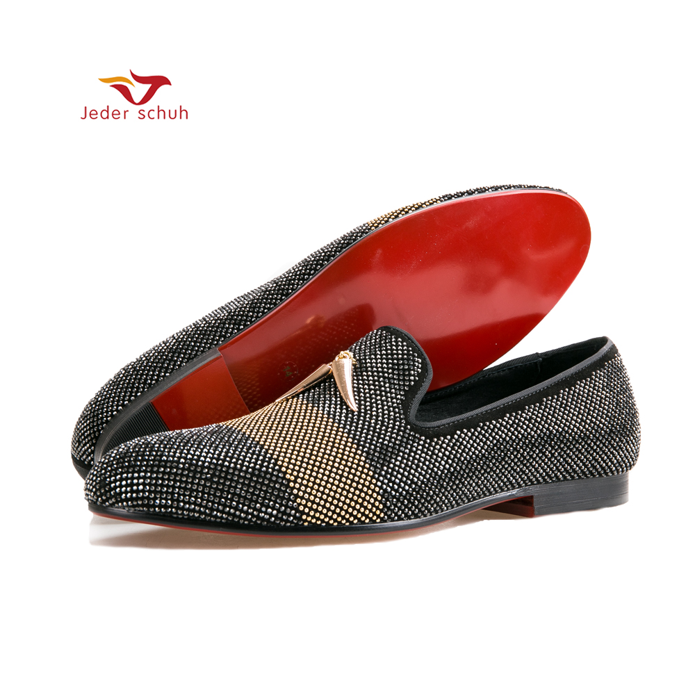 Jeder Schuh new style Mixed Colors Rhinestone men shoes leather upper and insole Party and wedding Slip-on men's loafers rakesh kumar tiwari and rajendra prasad ojha conformation and stability of mixed dna triplex