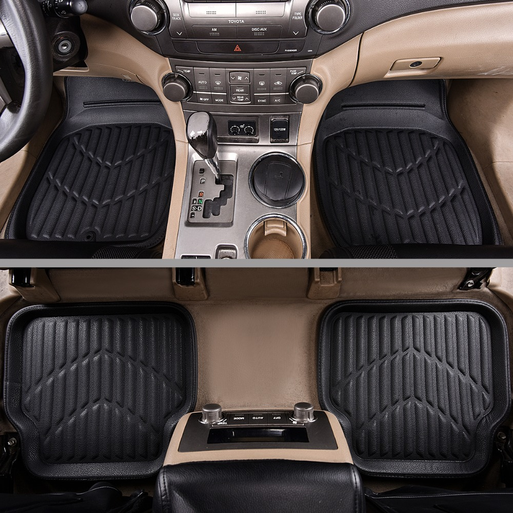 Universal Car Floor Mats Leather Waterproof Anti-dirty Mats Fit Driver & Passenger Seat For Land Cruiser 100 Car Mats