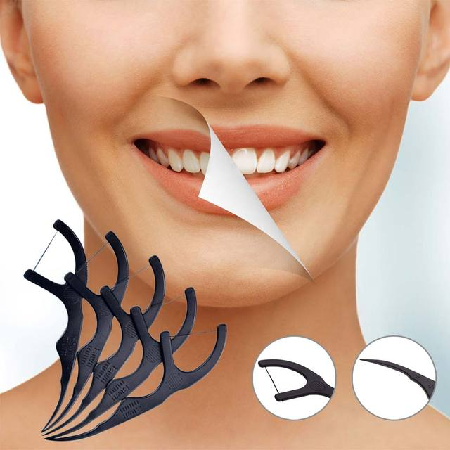 50pcs/Box Bamboo Charcoal Black Dental Floss Teeth Stick Tooth Pick Interdental Brushes Teeth Clean Toothpick Flosser Tool