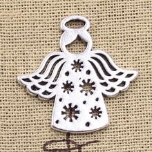 10 шт. Подвески Сердце Снежинка ангел снег 27x28 мм Античные Серебряные Подвески DIY Цепочки и ожерелья поделки своими руками, тибетские украшения