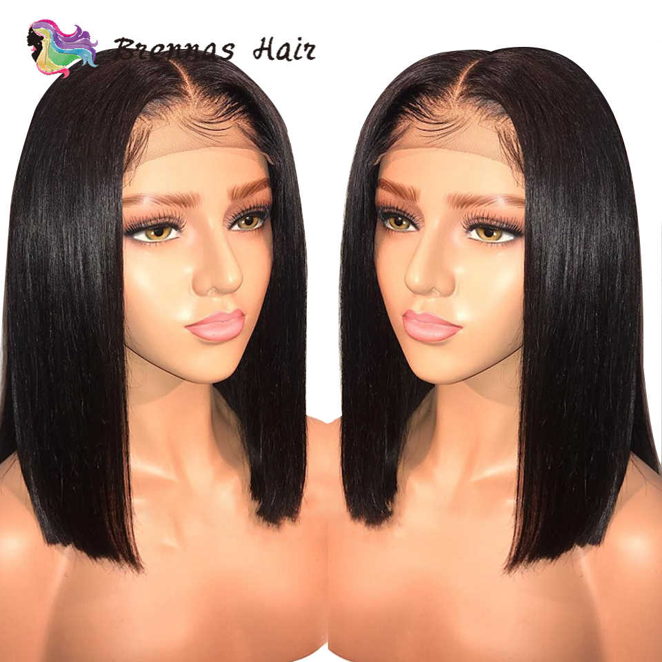 Brazilian straight short bob wig lace front human hair wig bleached knots pre plucked with baby hair 8-16inch for women