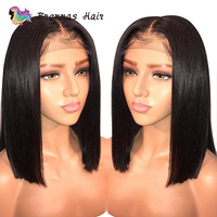 Brazilian straight short bob wig lace front human hair wig bleached knots pre plucked with baby hair 8 16inch for women