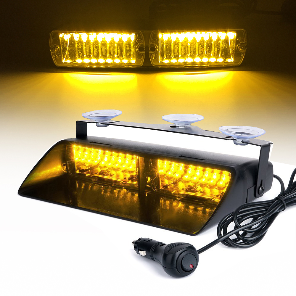 16 LED Red/Blue/Yellow 12V Car Police Strobe Light Dash Emergency Flash Warning Lamp 18 Flashing Modes Safety Signal Lights