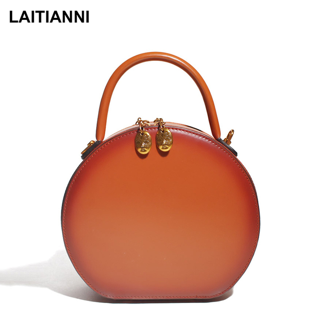 Handmade Women Messenger Bags Genuine Leather Tote Double Zip Handbags Latest Design Lusso Lady Casual