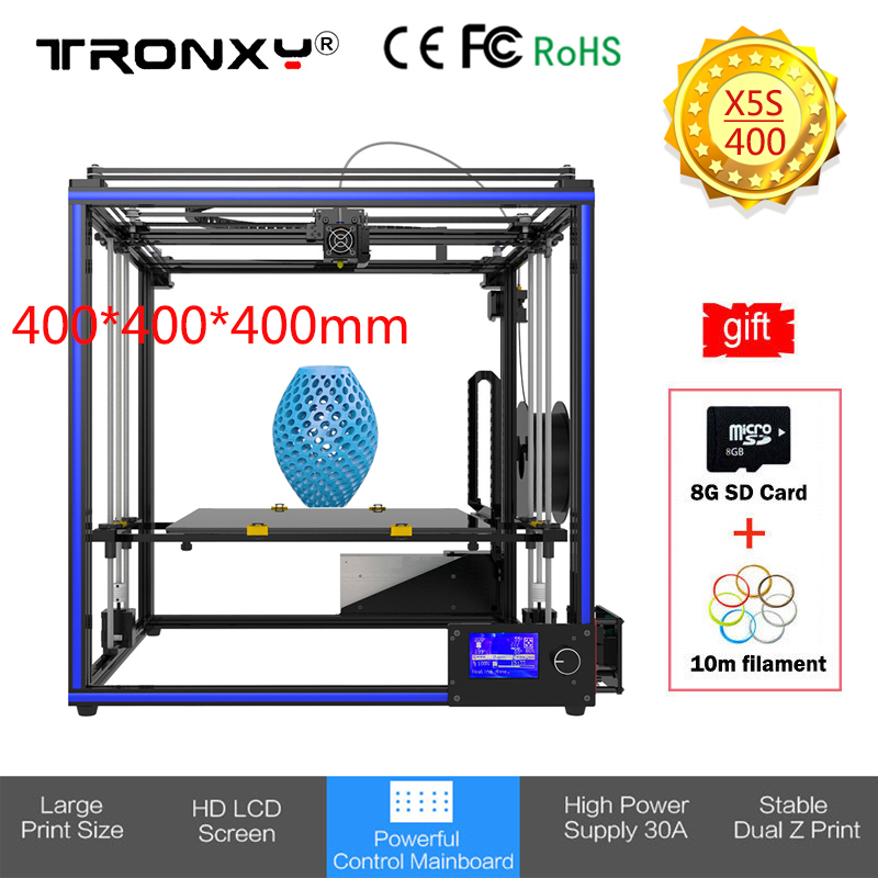 400*400*400mm Upgraded Tronxy X5S 3D Printer Kit Large Printing Size Full Quality High Precision extruder DIY Dual Z-axis Stable 2018 upgraded full quality high precision dual extruder 3d printer pla abs