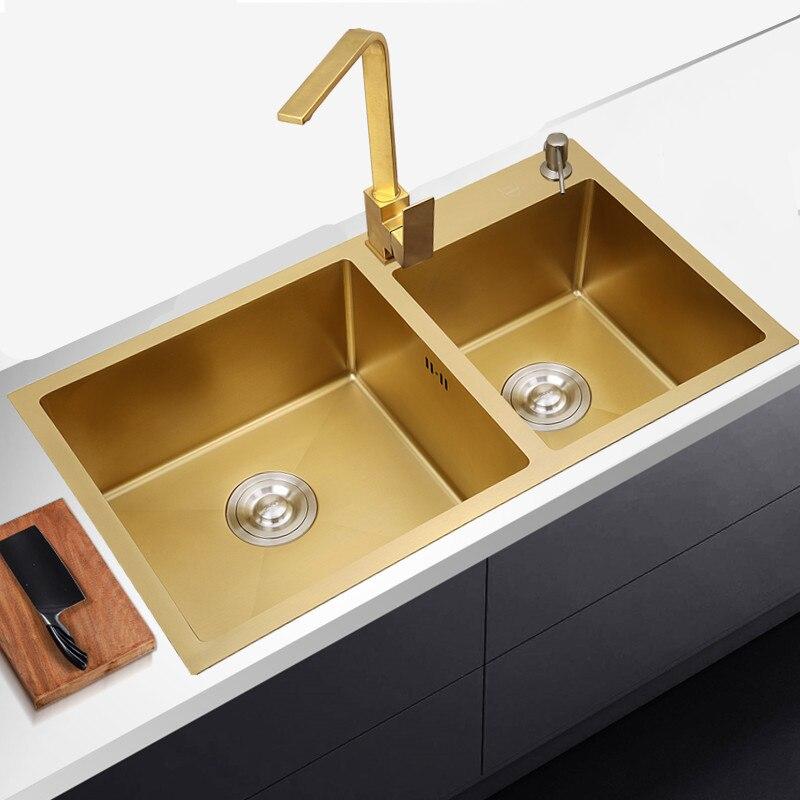 Évier de cuisine en acier inoxydable double bol au-dessus du comptoir ou des éviers de lavage de légumes udermount cuisine or 1.2mm évier en or
