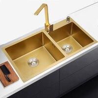 Golden kichen sink Stainless Steel double bowl above counter or udermount Vegetable Washing Sinks kitchen Golden 1.2mm gold sink