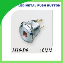 Angel Eye Led Light 16mm 12V Metal Momentary Push Button Switch 1PCS flat dot illuminated