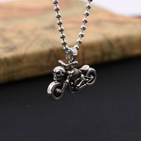 S925 sterling silver jewelry retro Thai silver men and women Harley personality skull motorcycle pendant D206