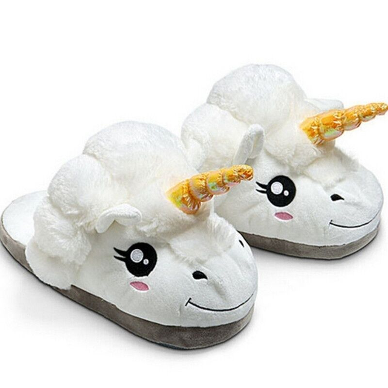 Fralosha Winter Unicorn Indoor Slippers Plush Home Shoes Unicorn Slippers for Grown Cartoon Fur Unisex Indoor Chausson Licorne home grown