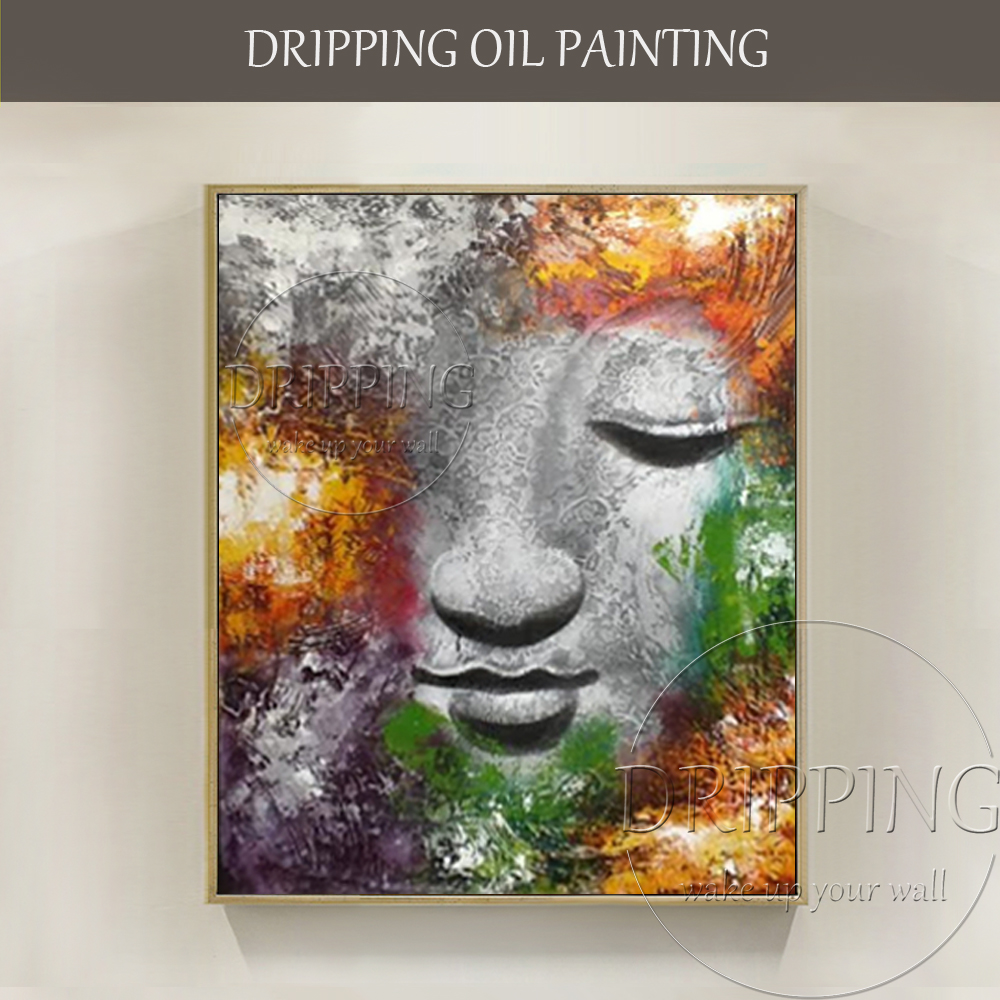 Excellent Artist Hand-painted High Quality Modern Abstract Buddha Oil Painting on Canvas Good Textured Buddha Figure Painting