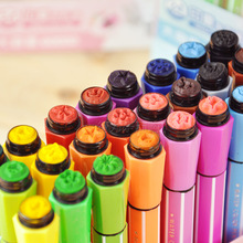 Cute Kids Drawing Pens Stamp Children seal Washable Watercolor Pen Graffiti Art Marker Painting Pen 12/18/24/36 Color Set
