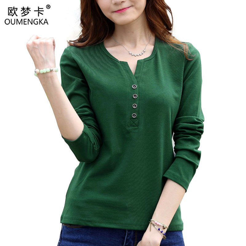 OUMENGKA Tee Shirt Femme Autumn Long Sleeve t-shirt Women t shirt Womens Tops Fashion Poleras De Mujer Solid Camisetas Mujer 4XL