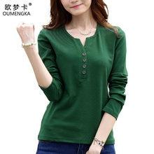 OUMENGKA t-shirt à manches longues Femme, couleur unie, automne, 4XL