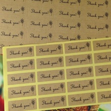 DIY Kraft Thank You Label 1000pcs/lot Kraft Sticker Label sealing Hand Made label sticker Custom Design MOQ : 10,000pcs