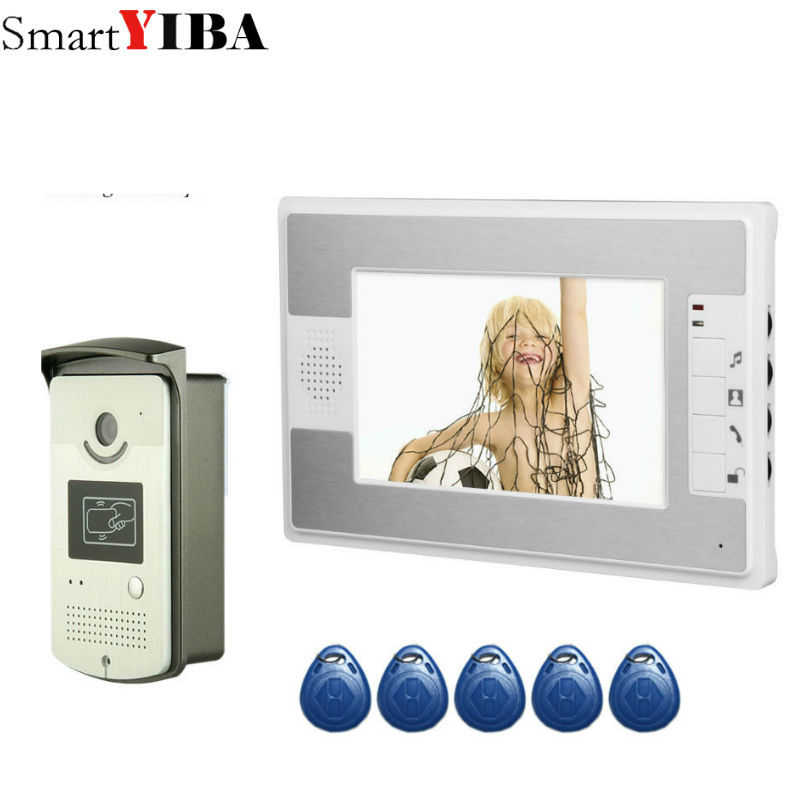 SmartYIBA Video Intercom 7''Inch Monitor Wired Video Doorbell Door Phone Intercom System RFID Access Control 1 Monitor 1 Camera 7 inch password id card video door phone home access control system wired video intercome door bell