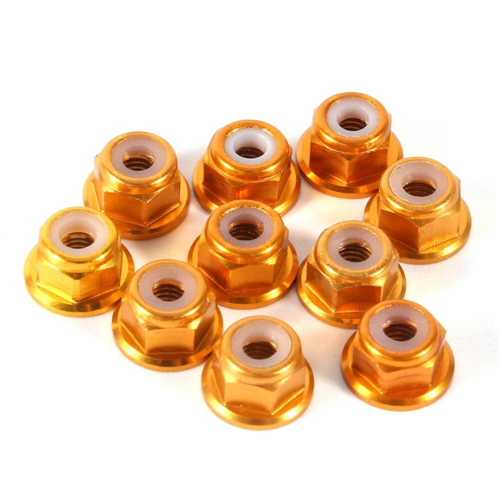 10Pcs/set M3 Blue Red Gold Black Aluminum Flanged Nylon Insert Lock Nut Self-Locking Hex Nut