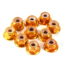 10Pcs/set M3 Blue Red Gold Black Aluminum Flanged Nylon Insert Lock Nut Self-Locking Hex Nut цены