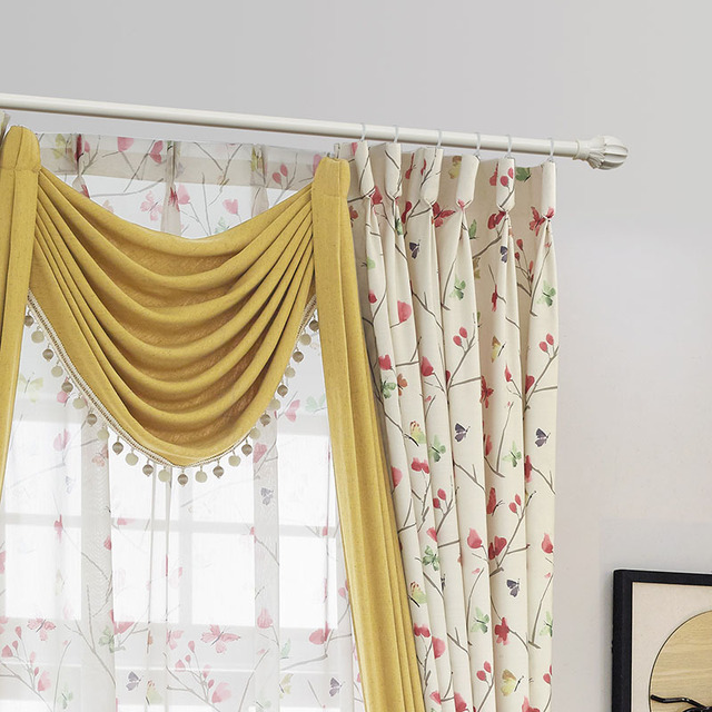 Luxury Printed Rustic Country Curtains Bedroom Ready Made Window Panel Living Room Butterfly Fabric Drapes