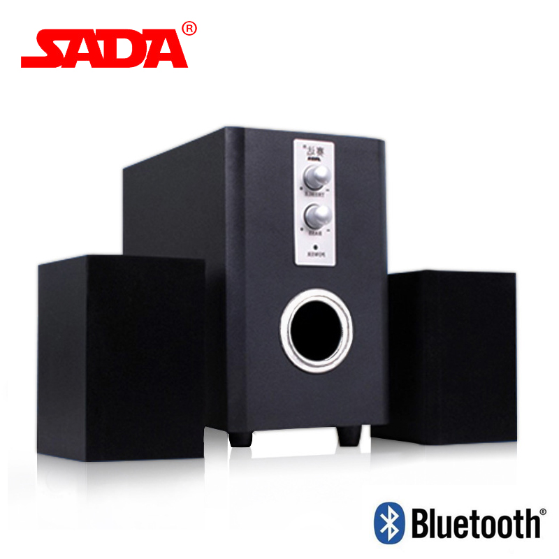 SADA Q1 Multi Function Wooden Subwoofer Stereo Bass PC USB Bluetooth Wireless Speaker Computer Speakers Support TF Card U Disk