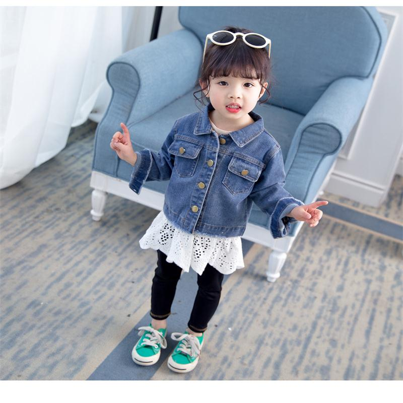 Baby girl 2019 spring new thin fashion personality trend denim jacket girls solid color lace denim shirt girl  clothingBaby girl 2019 spring new thin fashion personality trend denim jacket girls solid color lace denim shirt girl  clothing