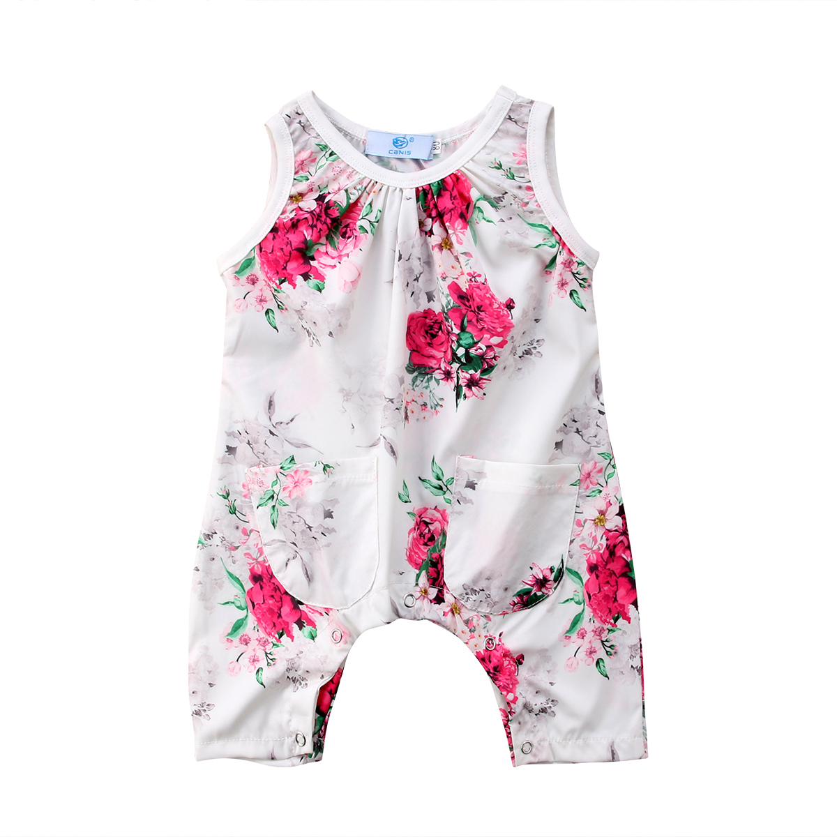 Stylish Sleeveless Toddler Baby Girls Summer Floral White Cotton Romper Jumpsuit Playsuit Clothes 0-3T