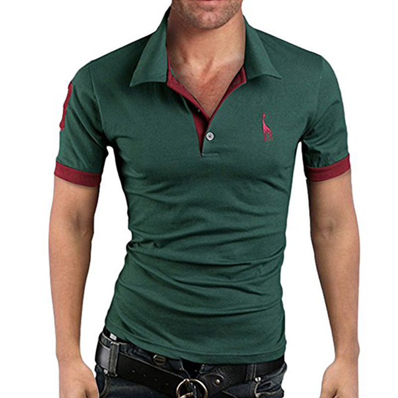 Men's Polo Multi-Color Deer High Quality Cotton Polo Shirt Men's Short Sleeve Slim Business Casual Solid Fit Tops 1