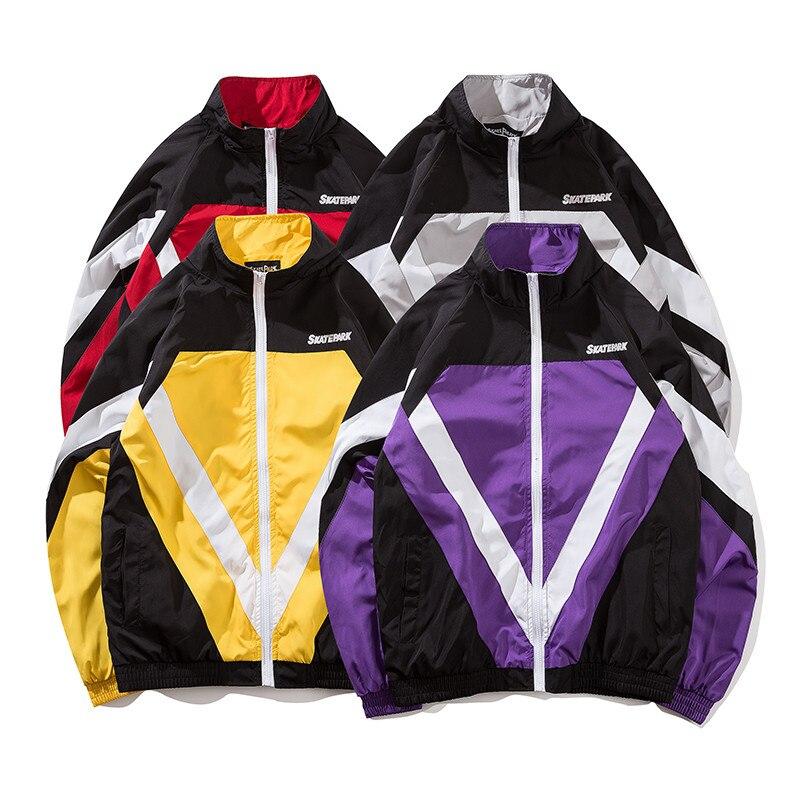 yellow Harajuku Colorato Pista Di Giacca Patchwork Streetwear Vintage 2018  Hip red Vento Gray Uomini Autunno Hop purple Up Zip A Cappotto RZnx60wp c64dfa139a4