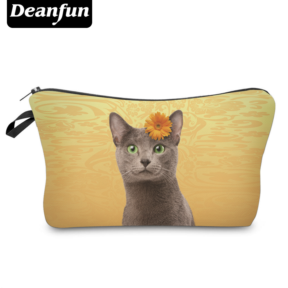 Deanfun Cosmetic Bags 3D Printed  Cute Cat with Flower Women Makeup Organizer for Travelling Dropshipping 50085