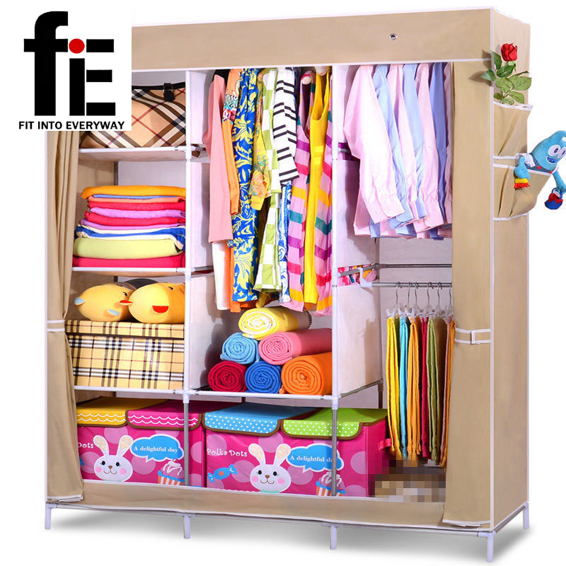 Bedroom Folding Non Woven Fabric Wardrobe Clothes Closet Storage Cabinet  Portable Lockers Hanging(China (