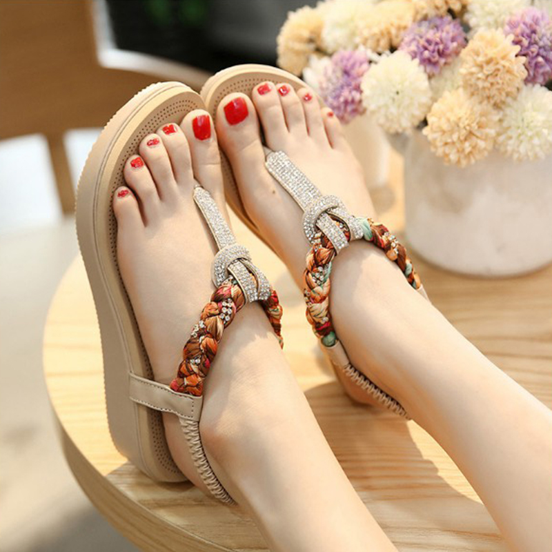 New Summer Women Sandals Shoes platform Female Fashion Women Flat Casual Beach Shoes Ladies Flip Flops Sandals Footwear DBT704 hot fashion summer women shoes women s metal c flat sandals female summer slippers flip flops ladies beach sandals femme chinelo
