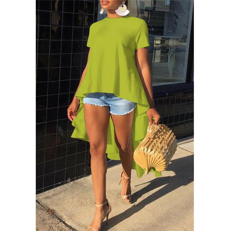 2021 New Women's Shirt Casual Loose Short Sleeve Tunic Top Long Tail T Shirt Tees Femme Plus Size Fashion|T-Shirts| - AliExpress
