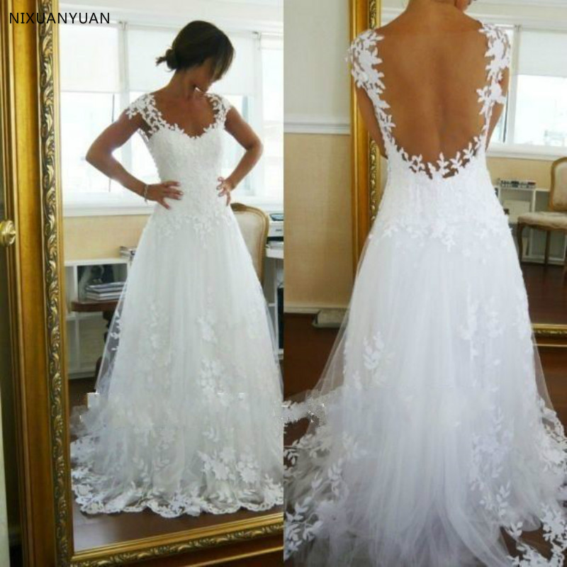 2020 New Design Sweetheart Bodice Appliqued Soft Tulle Sexy Cap Sleeve A Line Lace Wedding Dress