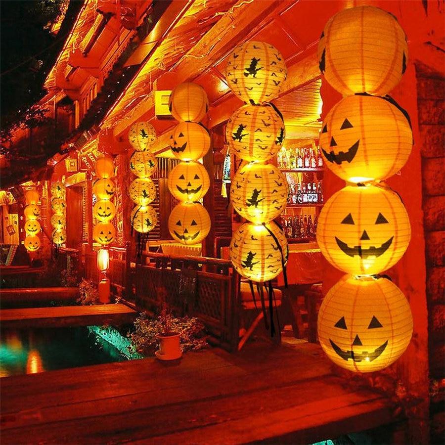 Halloween Paper Pumpkin Hanging Lantern DIY Holiday Party