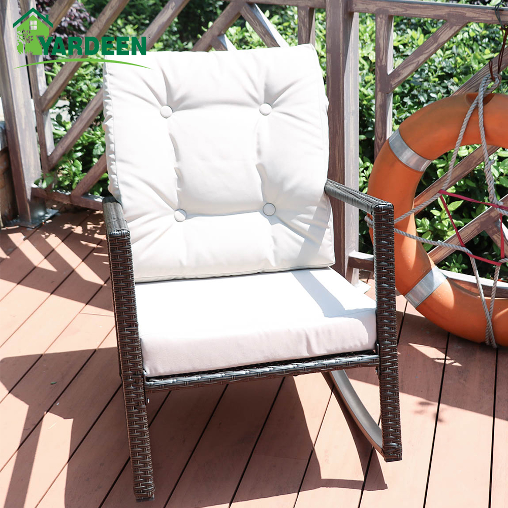 Yardeen Rocking Rattan Garden Chair Outdoor Patio Yard Furniture Wicker Chair with Cushion цена