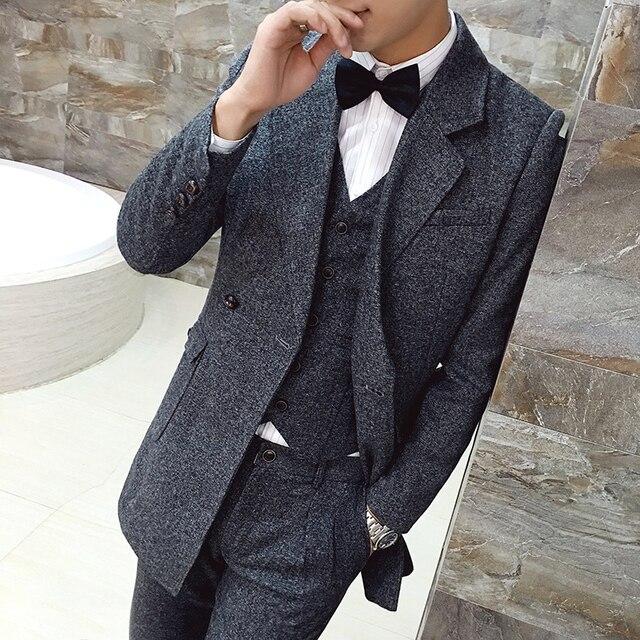 2016 мужской осенью и зимой удлиняют костюм серый 3 шт. установить высокое качество шерстяные против морщин терно masculino мужчины блейзер костюмы