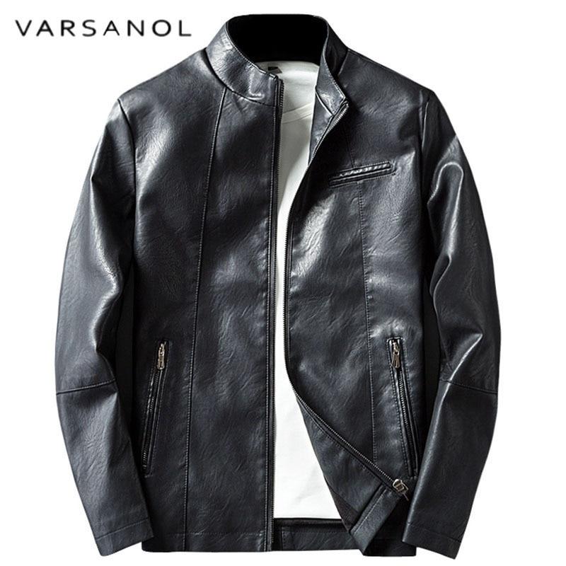 Varsanol Leather Jacket For Man Winter Warm Mans Coats Casual Long Sleeve Zipper Pocket Motorcycle Outwears 2018 Hot Sales Tops