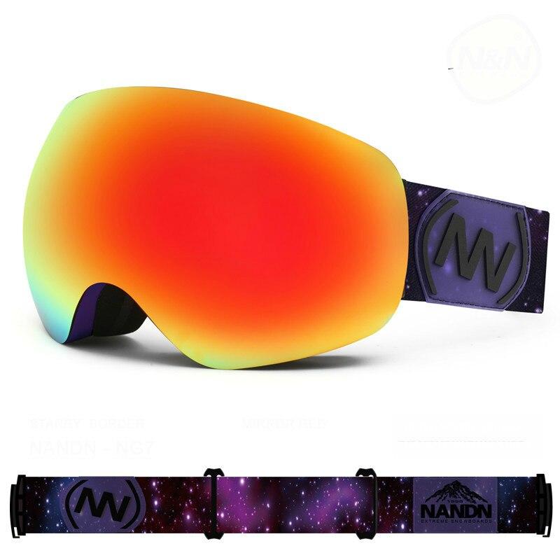 NANDN en plein air Ski Lunettes Double Couches UV 400 Anti-brouillard grand masque de Ski lunettes Ski Lunettes hommes femmes neige snowboard lunettes