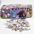 New 100pcs/set Cartoon Animals Puzzles Princess Jigsaw Puzzle Early Educational Wooden toys for boys girls (with Iron Box)