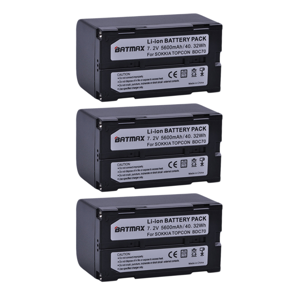 3Pcs 5600mAh BDC70 Li Ion Rechargeable Battery for SOKKIA / TOPCON BDC70 FOR Total Station / GPS Receivers li ion 7 4v 5200mtopcon bt 65q battery for topcon gts 750 gpt 7500 total station